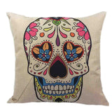 Skull Printed 45x45cm/17.7x17.7'' Linen Cushion For Sofa Decorative Throw Cotton Sofa Decor Couch - Hespirides Gifts - 8