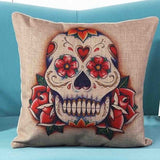 Skull Printed 45x45cm/17.7x17.7'' Linen Cushion For Sofa Decorative Throw Cotton Sofa Decor Couch - Hespirides Gifts - 18