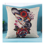 Skull Printed 45x45cm/17.7x17.7'' Linen Cushion For Sofa Decorative Throw Cotton Sofa Decor Couch - Hespirides Gifts - 20