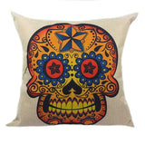 Skull Printed 45x45cm/17.7x17.7'' Linen Cushion For Sofa Decorative Throw Cotton Sofa Decor Couch - Hespirides Gifts - 24
