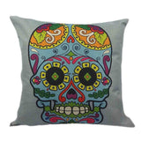 Skull Printed 45x45cm/17.7x17.7'' Linen Cushion For Sofa Decorative Throw Cotton Sofa Decor Couch - Hespirides Gifts - 14