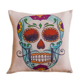 Skull Printed 45x45cm/17.7x17.7'' Linen Cushion For Sofa Decorative Throw Cotton Sofa Decor Couch - Hespirides Gifts - 11
