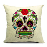 Skull Printed 45x45cm/17.7x17.7'' Linen Cushion For Sofa Decorative Throw Cotton Sofa Decor Couch - Hespirides Gifts - 4