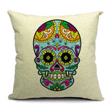 Skull Printed 45x45cm/17.7x17.7'' Linen Cushion For Sofa Decorative Throw Cotton Sofa Decor Couch - Hespirides Gifts - 25