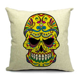 Skull Printed 45x45cm/17.7x17.7'' Linen Cushion For Sofa Decorative Throw Cotton Sofa Decor Couch - Hespirides Gifts - 9