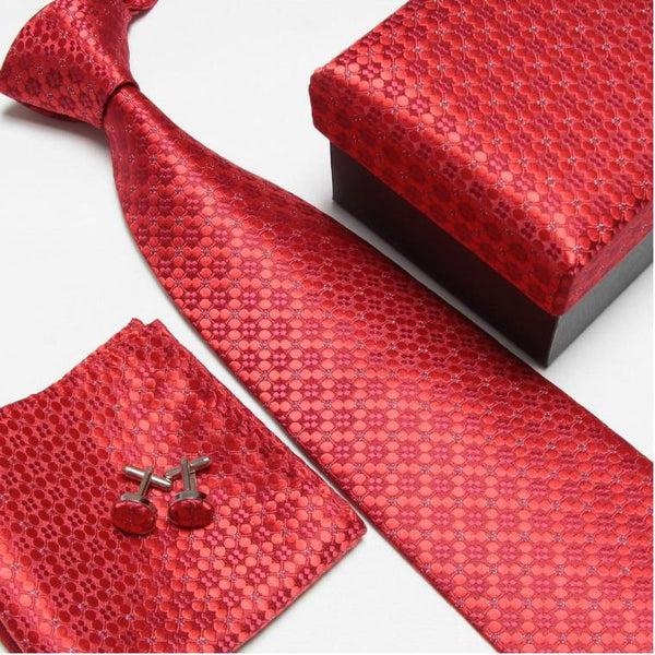 mens tie fashion men's accessories cheap ties for men tie and handkerchief set cufflinks gift box - Hespirides Gifts - 7