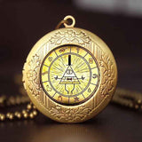 Steampunk Drama Gravity Falls Mysteries BILL CIPHER WHEEL Pendant Necklace glass doctor who 1pcs/lot Glass mens vintage earring - Hespirides Gifts - 18