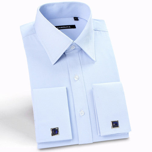 Mens Luxury French Cuff Solid Color Dress Shirts Peaked Collar Long Sleeve Slim Fit Casual Shirt Man (Cufflinks Included) - Hespirides Gifts - 2