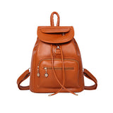 fashion lovely black PU women leather backpack school bag female travel bags faux leather vintage daily backpacks casual - Hespirides Gifts - 2