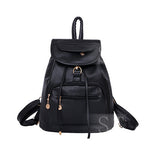 fashion lovely black PU women leather backpack school bag female travel bags faux leather vintage daily backpacks casual - Hespirides Gifts - 3