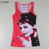 Summer New Women Vests 3D Audrey Hepburn Print Fitness Camisole Casual Galaxy Tank Tops Woman Shirts Brand Tees - Hespirides Gifts - 5