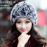 LIYAFUR Brand Russian Winter Knitted Rex Rabbit Fur Women's Hat Natural Rabbit Fur Hats Caps - Hespirides Gifts - 10