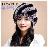 LIYAFUR Brand Russian Winter Knitted Rex Rabbit Fur Women's Hat Natural Rabbit Fur Hats Caps - Hespirides Gifts - 12