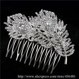 Women Wedding Dual Peacock Feather Hair Comb Tiara Drop Rhinestone Crystal Hair Accessories Bridal Jewelry - Hespirides Gifts - 2