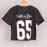 Sexy Lady Women Striped 65 Printed Crop Top Loose Casual Short Sleeve O-Neck T shirt T-Shirt tees Tops Woman Cropped Top Copped - Hespirides Gifts - 3
