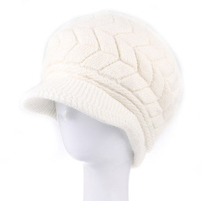 New Women Hat Winter Beanies Knitted Hats For Woman Rabbit Fur Cap Autumn And Winter Ladies Fashion Skullies - Hespirides Gifts - 6