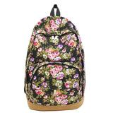 Vintage Retro Rose Floral Printing Backpack Women's Canvas Travel Backpack for Teenage Girls Rucksack - Hespirides Gifts - 2