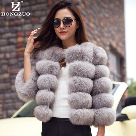 hongzuo PC148 Fur Coat With Free Winter Scarf