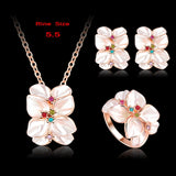 Top Seller Jewelry Set 18K Rose Gold Plate Austrian Crystal Enamel Earring/Necklace/Ring Flower Set Choose Size of Ring ST0002-A - Hespirides Gifts - 13