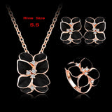 Top Seller Jewelry Set 18K Rose Gold Plate Austrian Crystal Enamel Earring/Necklace/Ring Flower Set Choose Size of Ring ST0002-A - Hespirides Gifts - 7