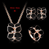 Top Seller Jewelry Set 18K Rose Gold Plate Austrian Crystal Enamel Earring/Necklace/Ring Flower Set Choose Size of Ring ST0002-A - Hespirides Gifts - 8