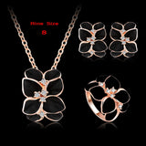 Top Seller Jewelry Set 18K Rose Gold Plate Austrian Crystal Enamel Earring/Necklace/Ring Flower Set Choose Size of Ring ST0002-A - Hespirides Gifts - 9