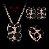 Top Seller Jewelry Set 18K Rose Gold Plate Austrian Crystal Enamel Earring/Necklace/Ring Flower Set Choose Size of Ring ST0002-A - Hespirides Gifts - 12