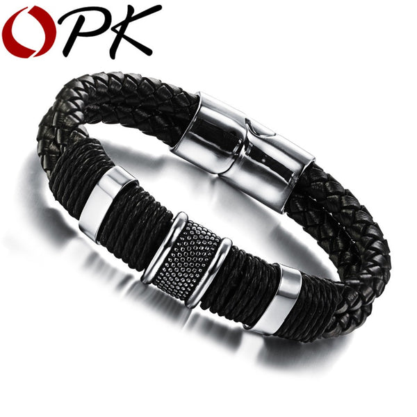 OPK Handmade Genuine Leather Weaved Double Layer Man Bracelets Casual/Sporty Bicycle Motorcycle Delicate Cool Men Jewelry, PH891 - Hespirides Gifts