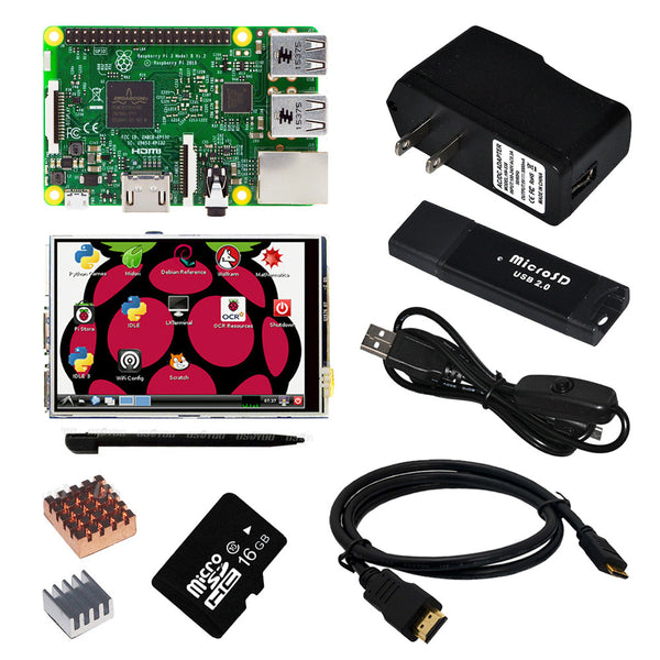 Raspberry Pi 3 Model B Board +3.5 TFT Touch Screen +Clear Case + 2pcs Heat Sink + 16GB TF Card  + Power Supply 2.5a(EU OR US)