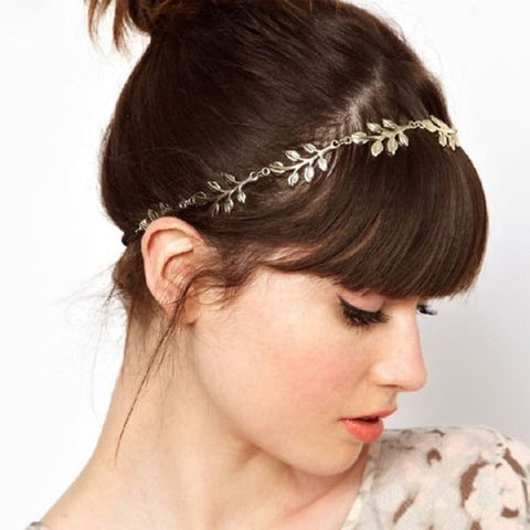 Women Fashion Golden Metal Leaf Headband Head Chain Elastic Hair Band - Hespirides Gifts - 1