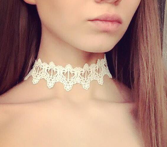 Newest  fashion jewelry accessories white &black Lace Tattoo choker necklace for couple lovers'  N106 - Hespirides Gifts - 5