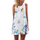 European Style Chiffon Dress Summer Casual Loose O-Neck Sleeveless Print Beach Dresses Plus Size Women Clothing WAIBO BEAR