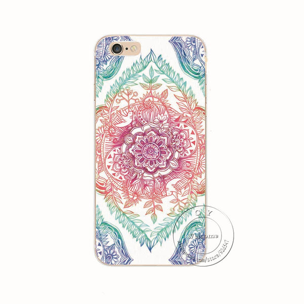 Shell For Apple iPhone 5 5S SE 5C 6 6S 7 Plus 6SPlus Back Case Cover Printing Mandala Flower Datura Floral Cell Phone Cases - Hespirides Gifts - 8