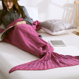 Mermaid Tail Blanket Yarn Knitted Handmade Crochet Mermaid Blanket Kids Throw Bed Wrap Super Soft Sleeping Bed 3 Sizes 1PCS/Lot - Hespirides Gifts - 6