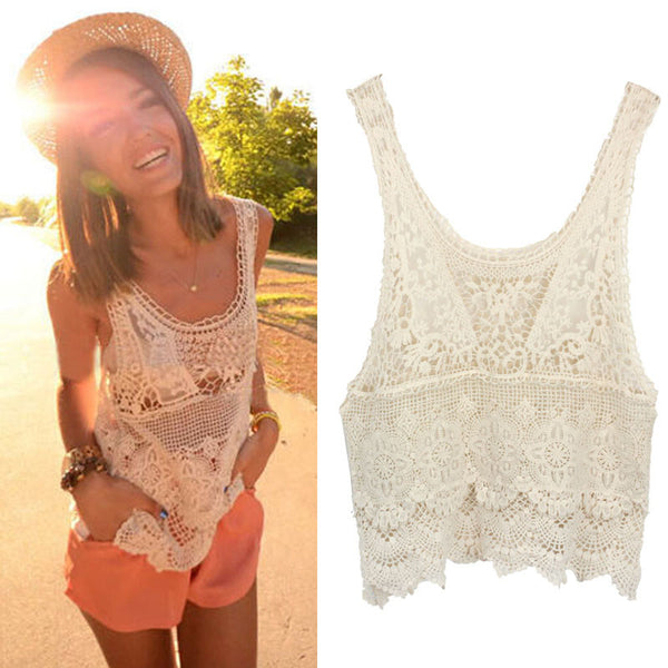 Super Deal, 1PC Women Summer Blouses Hippie Bohemian Vintage Blusas Chic Crochet Lace Sexy Tank Top Casual Beach Girl Shirt - Hespirides Gifts