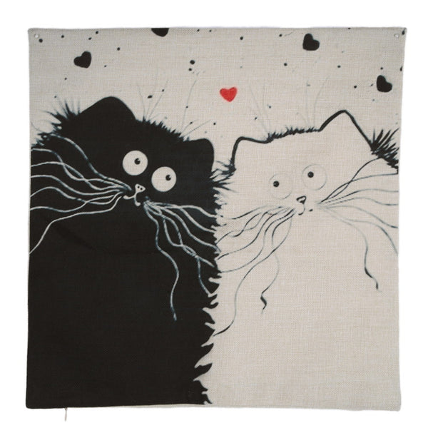 Cartoon images Linen Cotton Blend Cushion Cover Home Office Sofa Square Cat Pillow Case Decorative Cushion Covers Pillowcases - Hespirides Gifts - 4