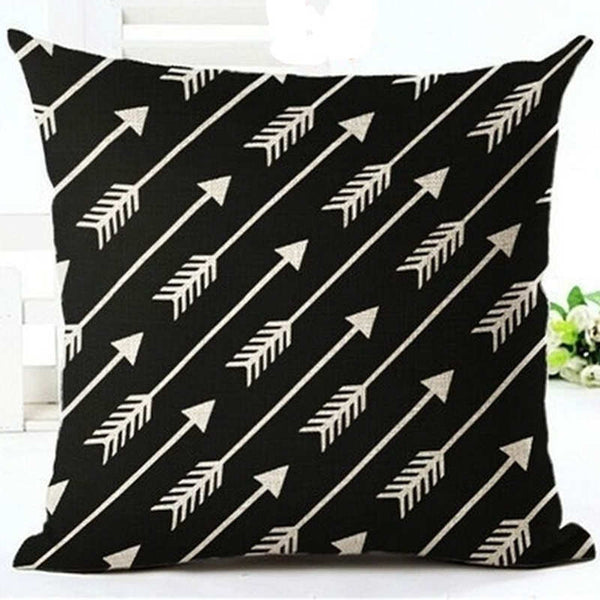 Pillow Case Black and White Pattern Pillowcase Cotton Linen Printed 18x18 Inches Geometry Euro Pillow Covers - Hespirides Gifts - 16