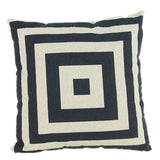 Pillow Case Black and White Pattern Pillowcase Cotton Linen Printed 18x18 Inches Geometry Euro Pillow Covers - Hespirides Gifts - 18
