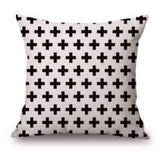 Pillow Case Black and White Pattern Pillowcase Cotton Linen Printed 18x18 Inches Geometry Euro Pillow Covers - Hespirides Gifts - 21