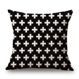Pillow Case Black and White Pattern Pillowcase Cotton Linen Printed 18x18 Inches Geometry Euro Pillow Covers - Hespirides Gifts - 22