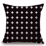 Pillow Case Black and White Pattern Pillowcase Cotton Linen Printed 18x18 Inches Geometry Euro Pillow Covers - Hespirides Gifts - 7