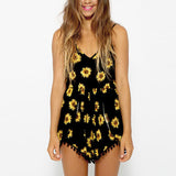 ZANZEA Fashion 2016 Sexy Women Straps Sunflower Print Playsuit Casual Vintage Short Rompers Womens Jumpsuit Plus Size S-XXL