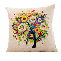 Season Life Tree Cotton Linen Colorful Decorative Pillow Case Chair Square Waist and Seat 45x45cm Pillow Cover Home Textile - Hespirides Gifts - 12