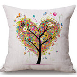 Season Life Tree Cotton Linen Colorful Decorative Pillow Case Chair Square Waist and Seat 45x45cm Pillow Cover Home Textile - Hespirides Gifts - 13