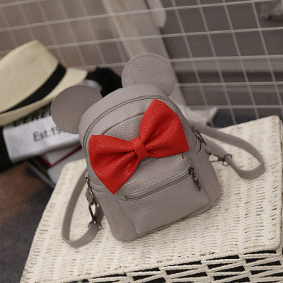 LEFTSIDE 2016 Summer new female bag quality pu leather women bag Cute Animal backpacks ears sweet bow College Wind mini backpack