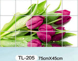Waterproof aluminum foil wall stickers tiled kitchen bathroom wall decoration tulip flowers plant roses decorated - Hespirides Gifts - 25