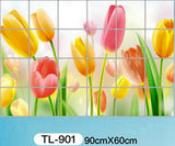 Waterproof aluminum foil wall stickers tiled kitchen bathroom wall decoration tulip flowers plant roses decorated - Hespirides Gifts - 10