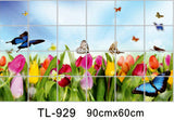 Waterproof aluminum foil wall stickers tiled kitchen bathroom wall decoration tulip flowers plant roses decorated - Hespirides Gifts - 15