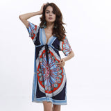 Boho Autumn Women Dress Sexy Loose Sundresses Deep V Ethnic Dashiki Print Tunic Beach Dresses Big Size 2XL Woman SunDress Robe