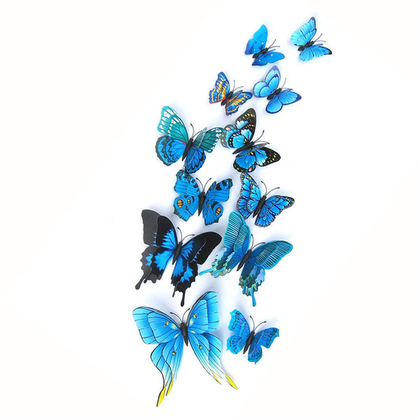 Butterfly Wall Stickers Double Layer 3D Butterflies colorful bedroom living room Home Fridage Decor 12pcs/lot 4 color DA - Hespirides Gifts - 3